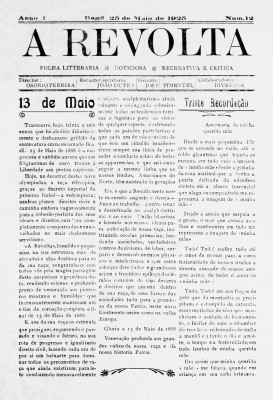 """Jornal """"A Revolta"""" celebra os 36 anos da abolição, em 1925"""